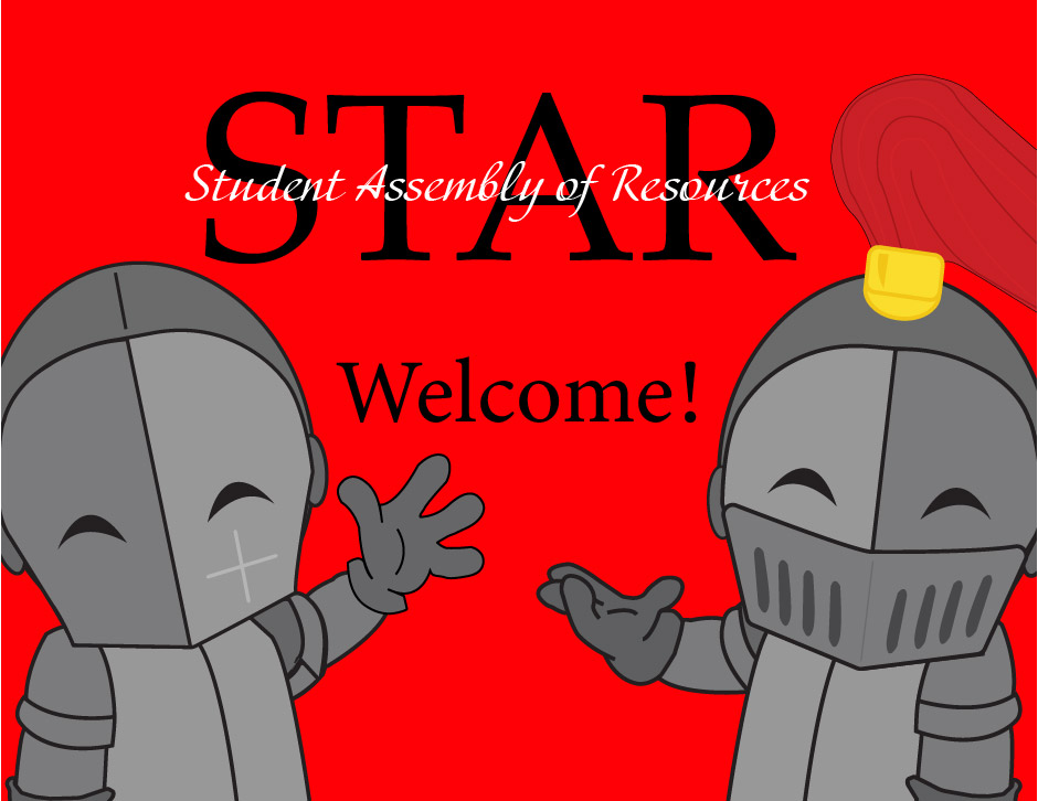 "2 Knight Characters waving with the text ""Welcome"" and ""STAR: Student Assembly of Resources"""