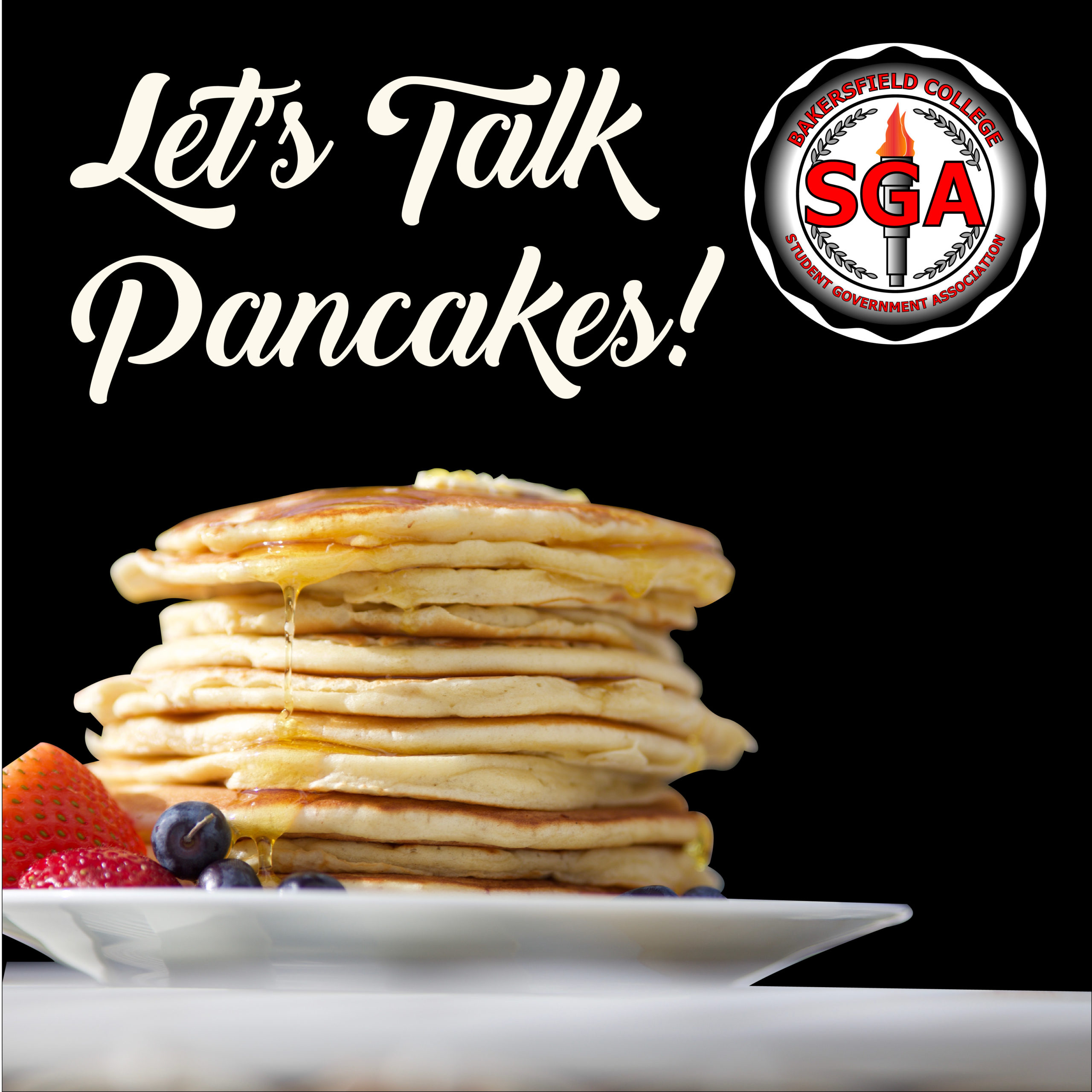 "Stack of pancakes with ""Let's talk pancakes"" above them with the SGA Logo next to it."